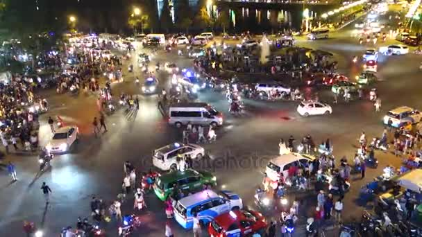 Da Lat city - July 12 2017: A lot of unidentified people drive by motorcycles, car, bus, truck and walking in Da Lat center market. This place is the most popular shopping in Da Lat, Lam Dong, Vietnam
