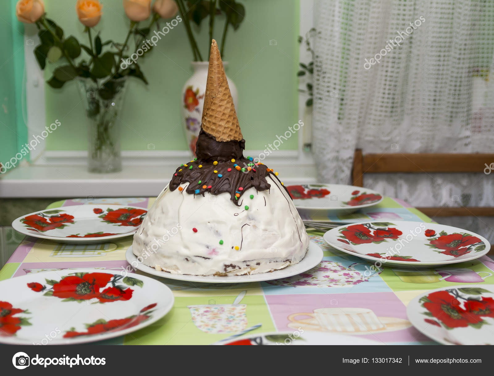 Birthday Cake In The Form Of A Cone With Ice Cream On Table Stock Image