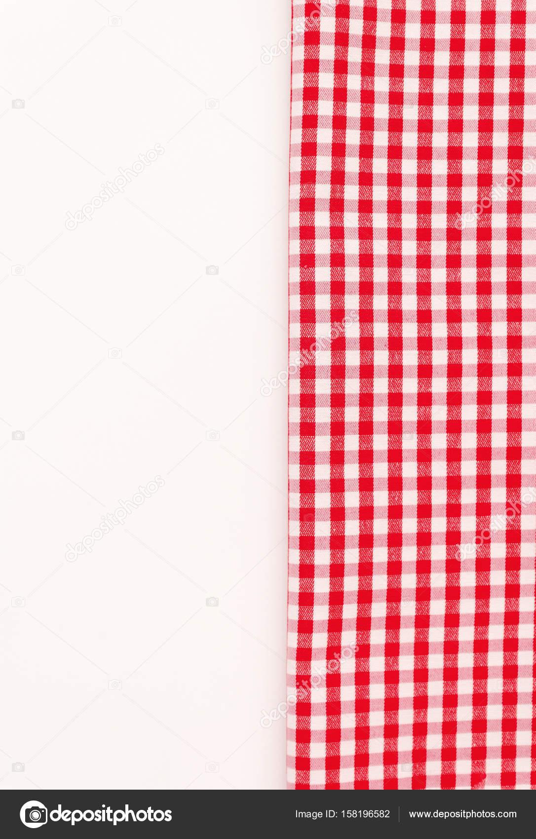 Paño rojo, un paño de cocina con un patrón a cuadros, en un blanco ...