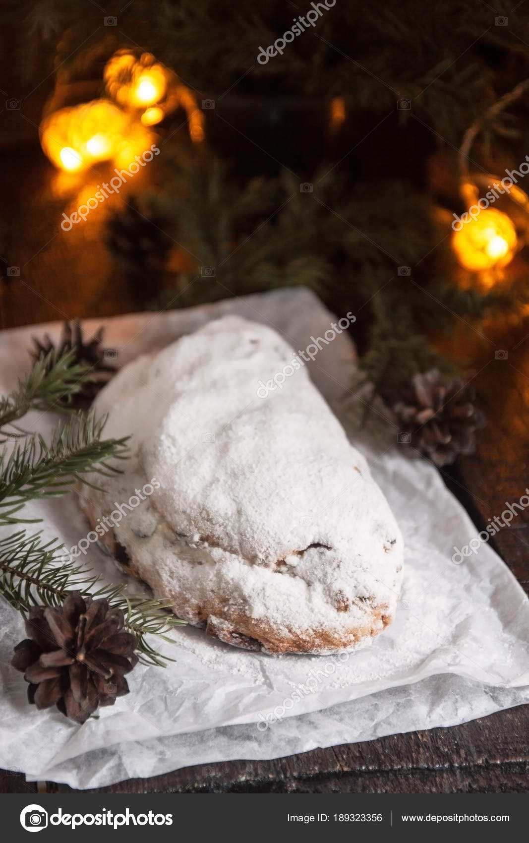 Dresden Stollen is a Traditional German Cake with raisins on a l ...