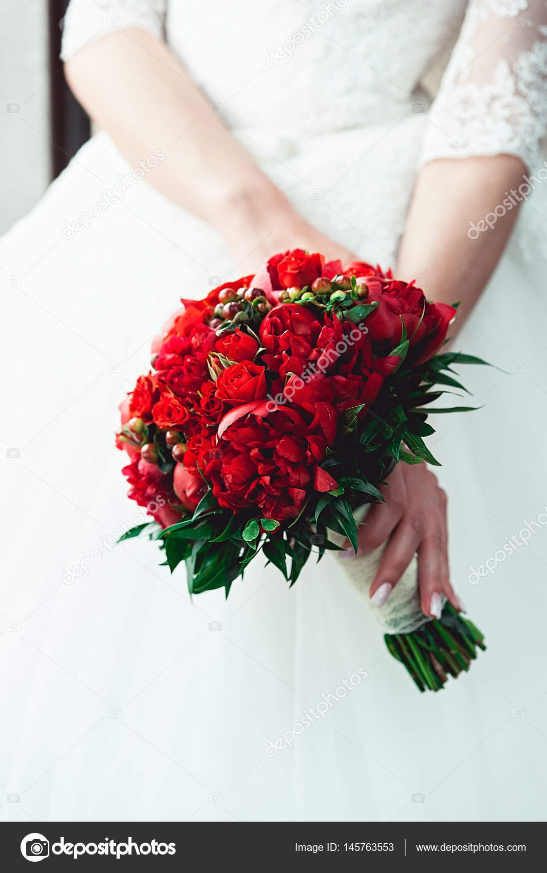 Black Wedding Dress With Red Roses Bride In A Luxurious Wedding