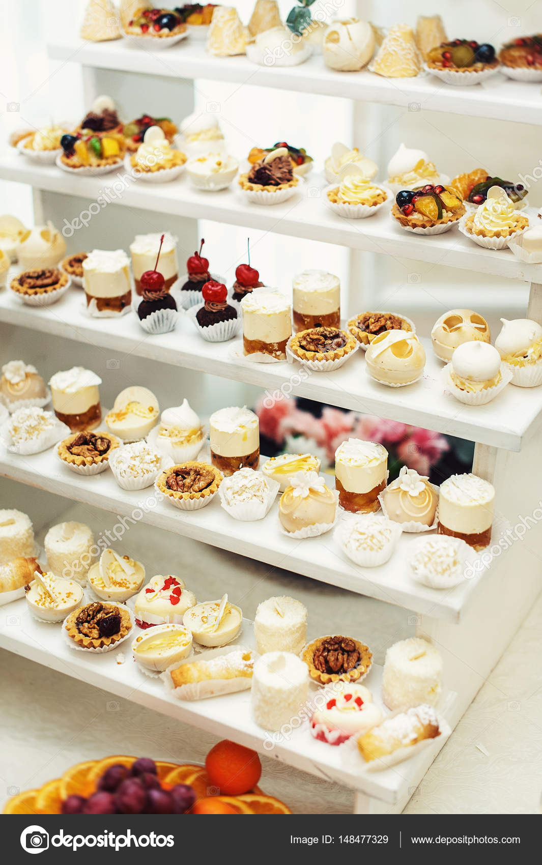Wedding Reception Stand With Sweets Candies Dessert Cupcakes