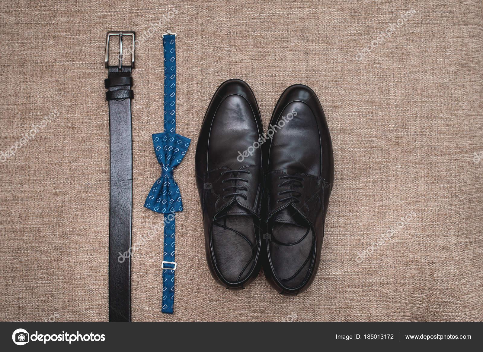 Riem Lederen Blauw Bruidsparen Zwarte Strikje Uw Schoenen En YgFqw6Y