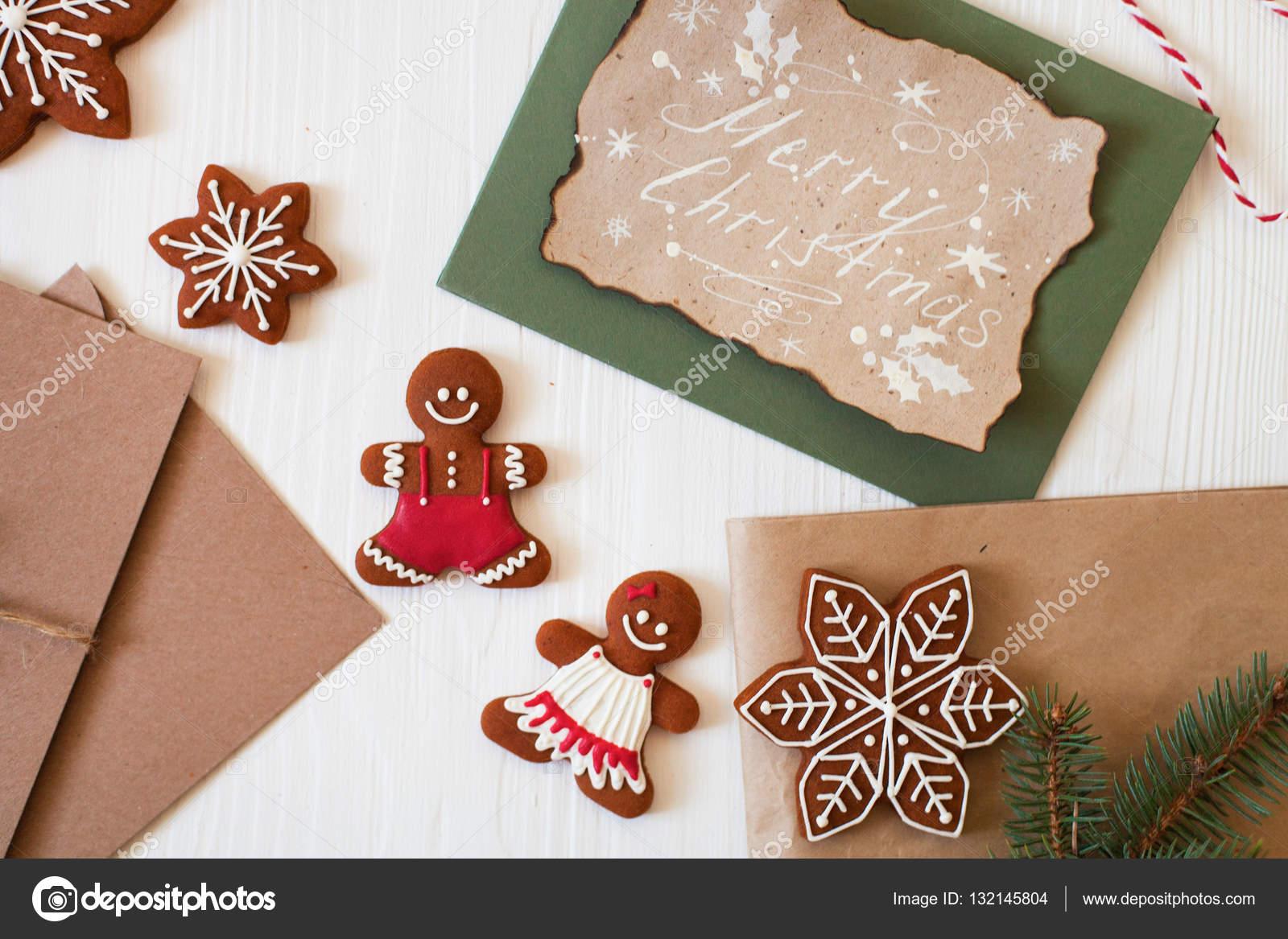 Merry Christmas Xmas Cookies Gingerbread Man Ribbon Card Fe