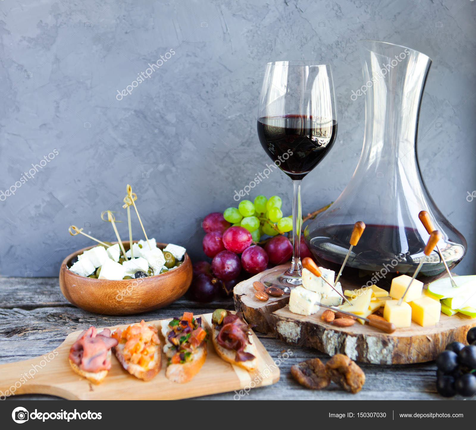 Wine Snack Set Glass Of Red Grape Cheese Over Rustic Wo