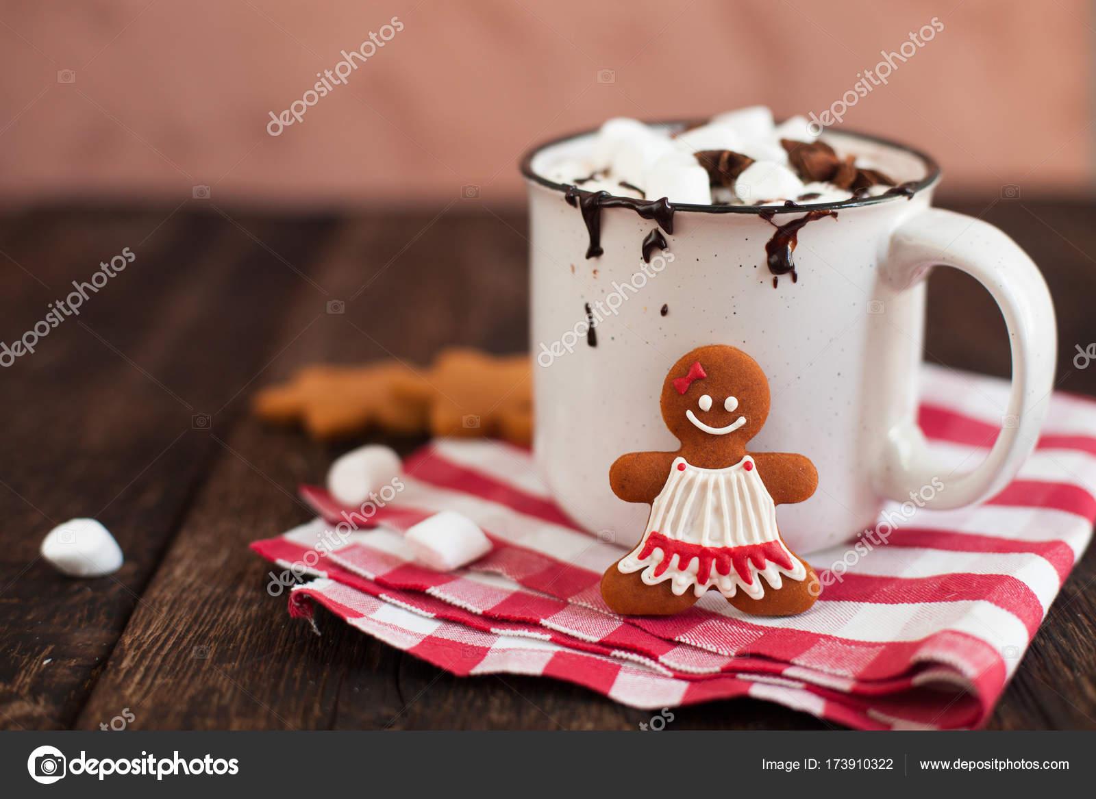 Mug Of Hot Chocolate Or Cocoa With Christmas Cookies And Marsmal