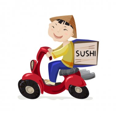 Sushi delivery concept.
