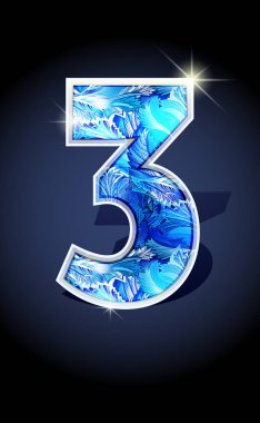 number blue shine design