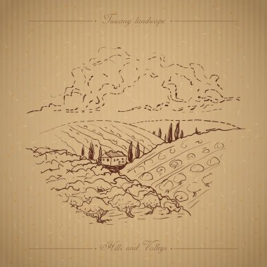 Tuscany Landscape hand drawn illustration