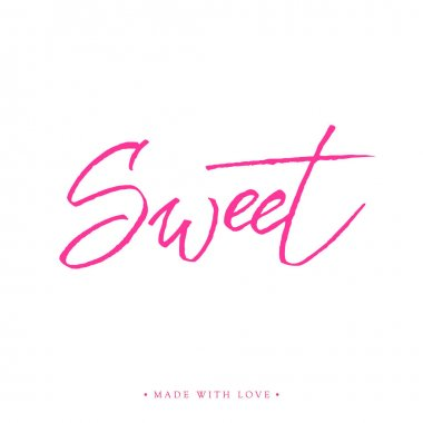 Sweet love greeting card with calligraphy.