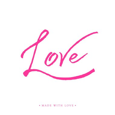 Love greeting card with calligraphy.