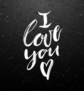 I love you greeting card with calligraphy.