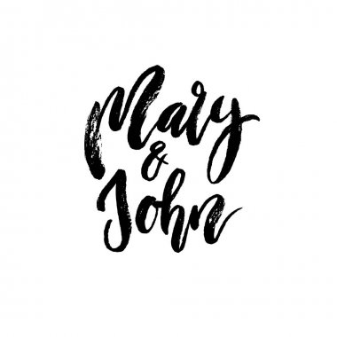 Mary and John. Modern brush calligraphy.