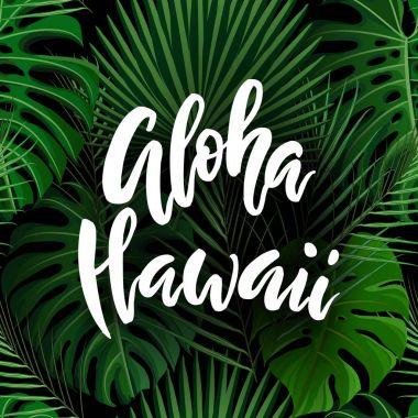 Aloha Hawaii brush lettering.