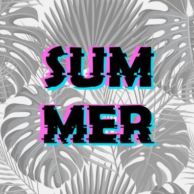 Sign summer sale with distorted glitch effect.