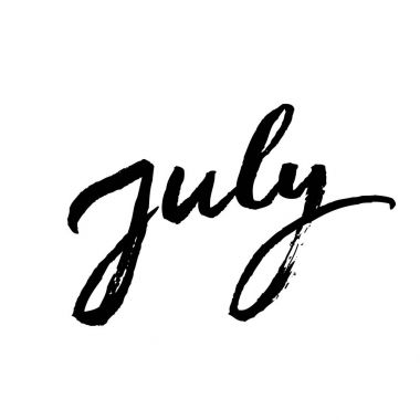 July brush lettering.