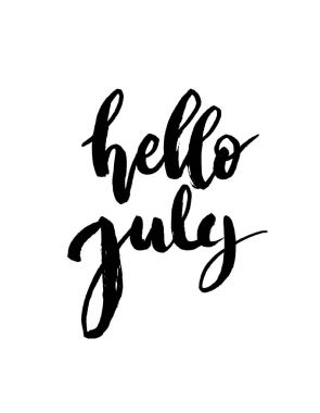 Hello july brush lettering.