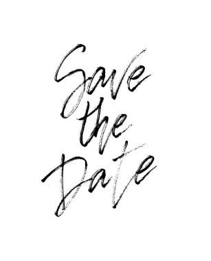 Save the date wedding lettering postcard.