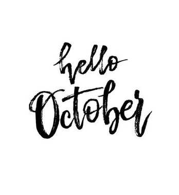 Hello October. Autumn brush lettering.