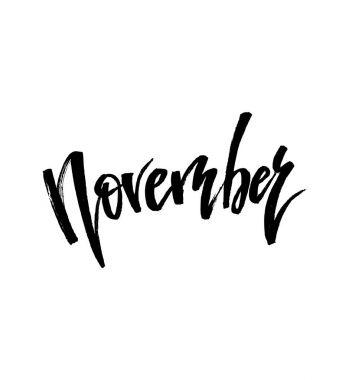 November Autumn brush lettering.