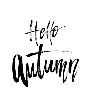 Hello Autumn brush lettering.