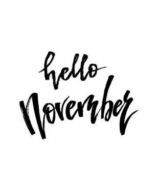 Hello November Autumn brush lettering.
