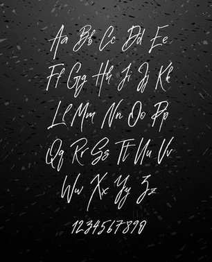 Handwritten brush style modern cursive font isolated on chalkboard background.
