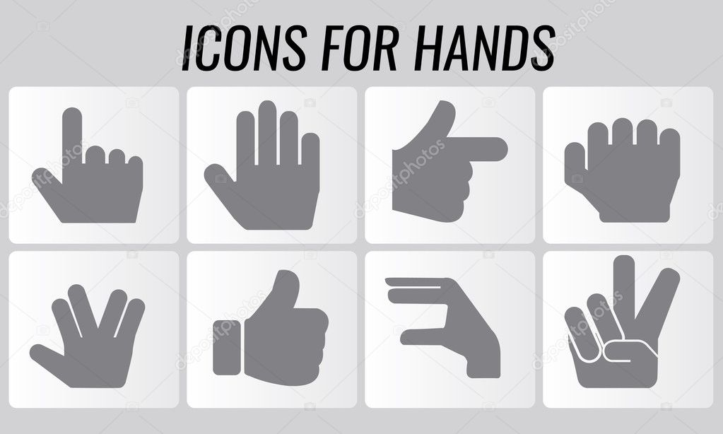 Illustrated Vector Symbol Shaped Hands Icons Set Stock Vector