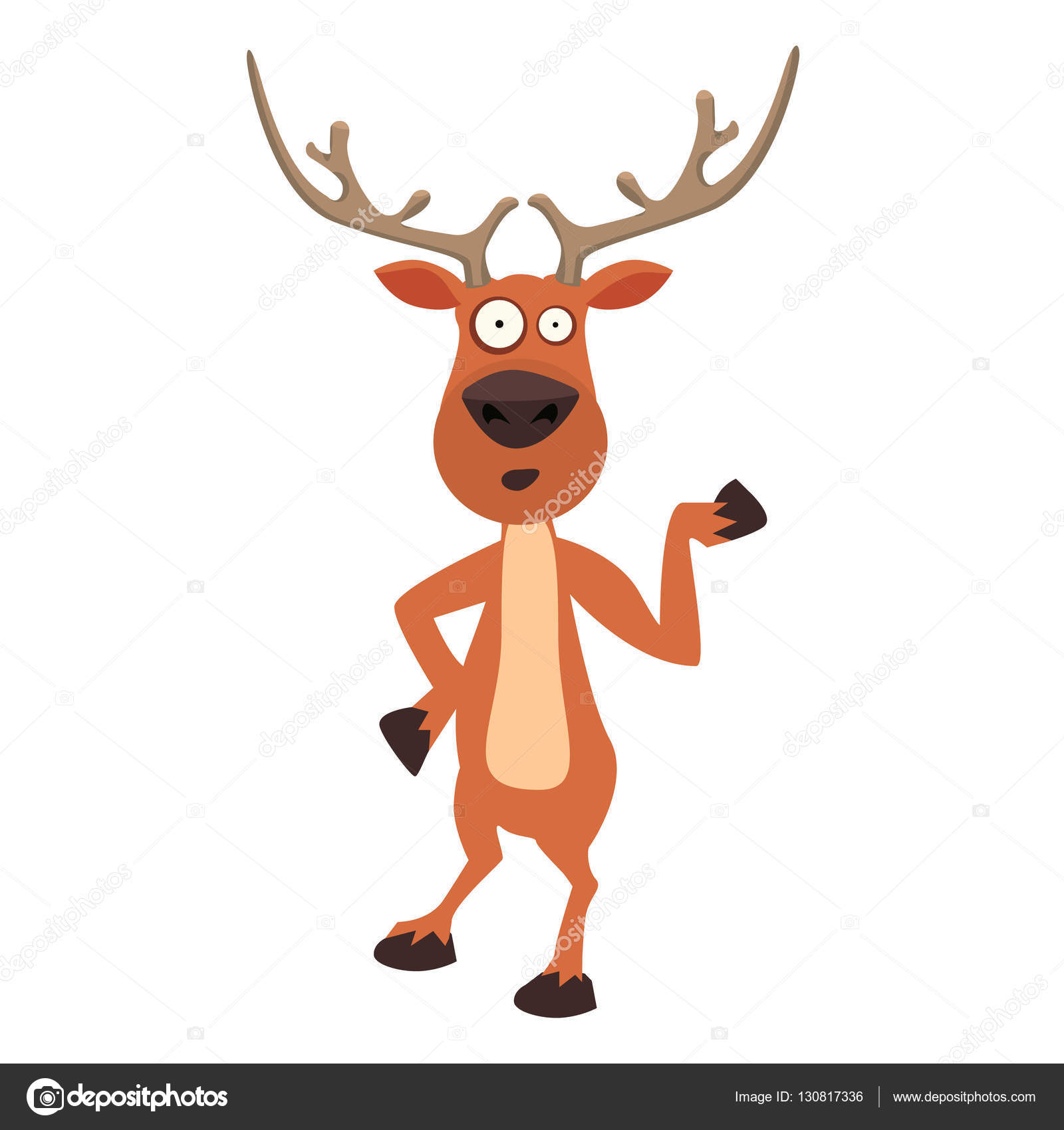 cute moose funny cartoon reindeer character showing with hand