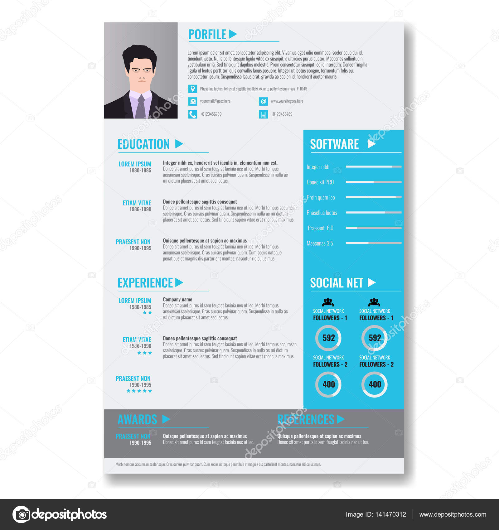 Vector Creative Minimalist Cv Resume Template With Two Pages