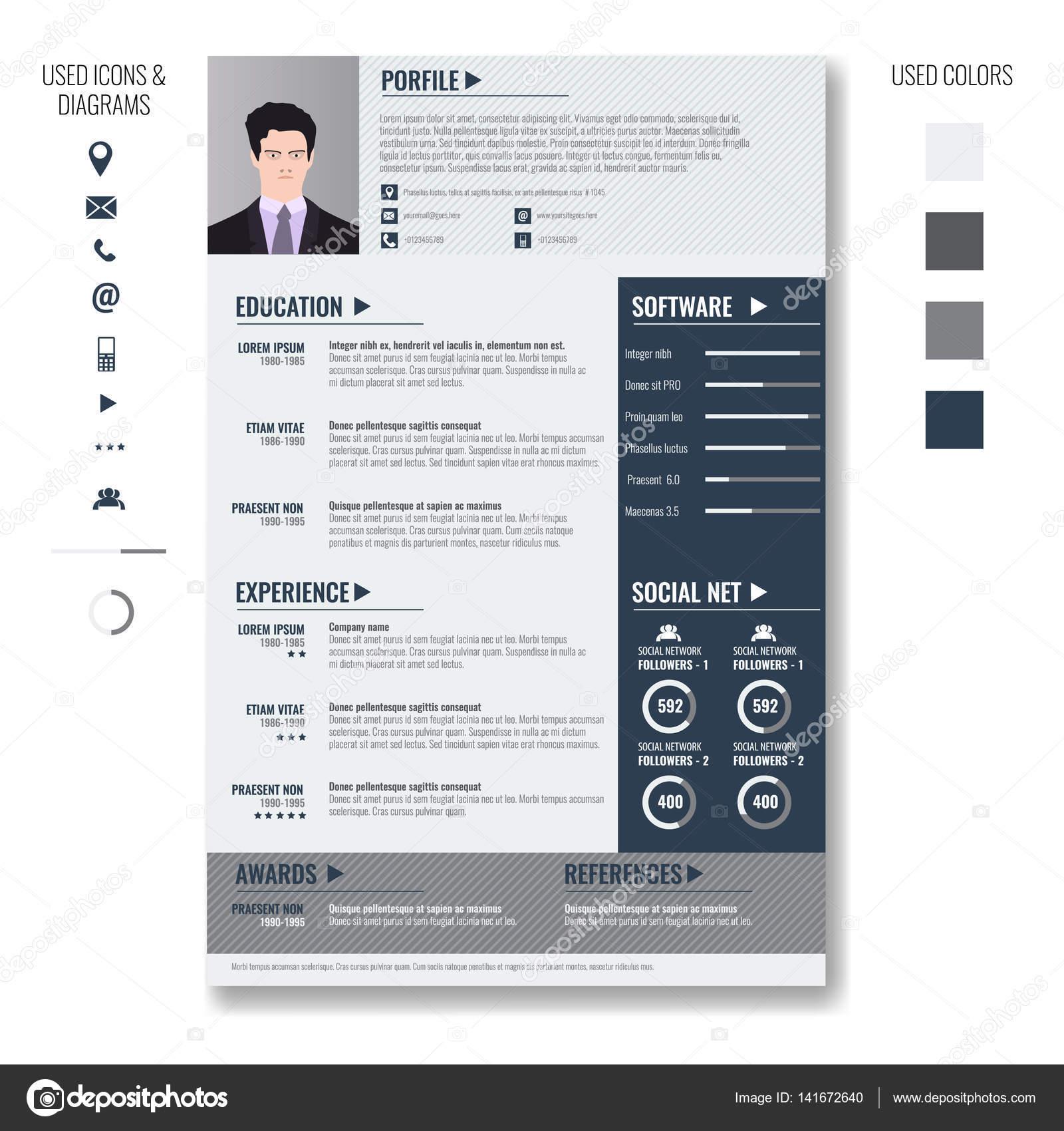 Vektor-kreative minimalistische Lebenslauf Lebenslauf-Vorlage mit ...