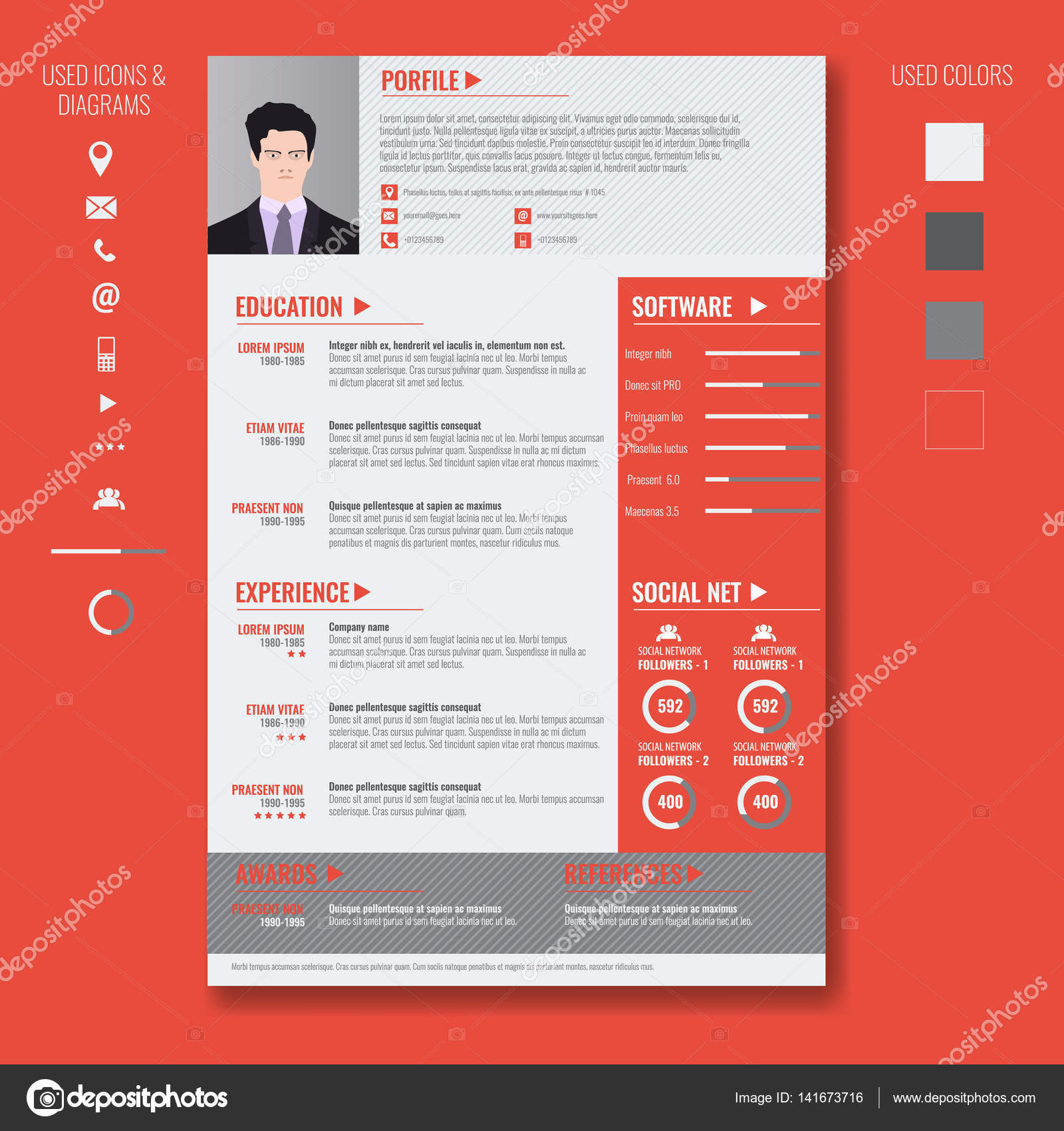 vector creative minimalist cv resume template with two pages stock vector 141673716 - Cv Design Templates Vector
