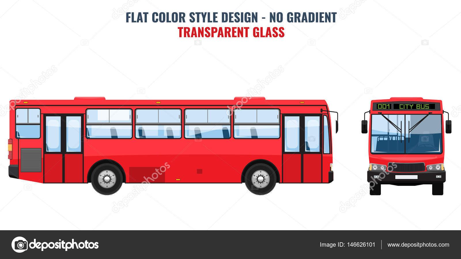 Autobús público de la ciudad de plantilla de anuncio. Vector plano ...