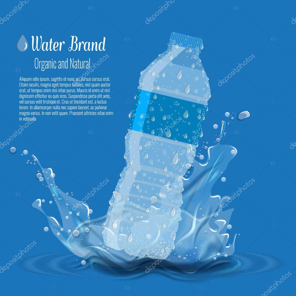 Бутылка с чистой чистой водой с плеск воды. Объявление ...