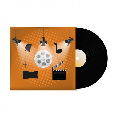 Multimedia concept poster design on vinyl cover
