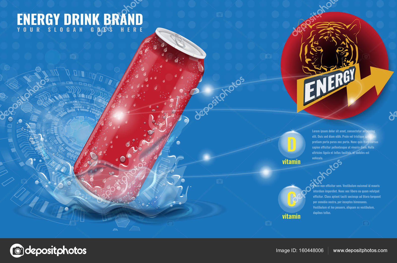Energy drink metal can mockup with water splash and drops for