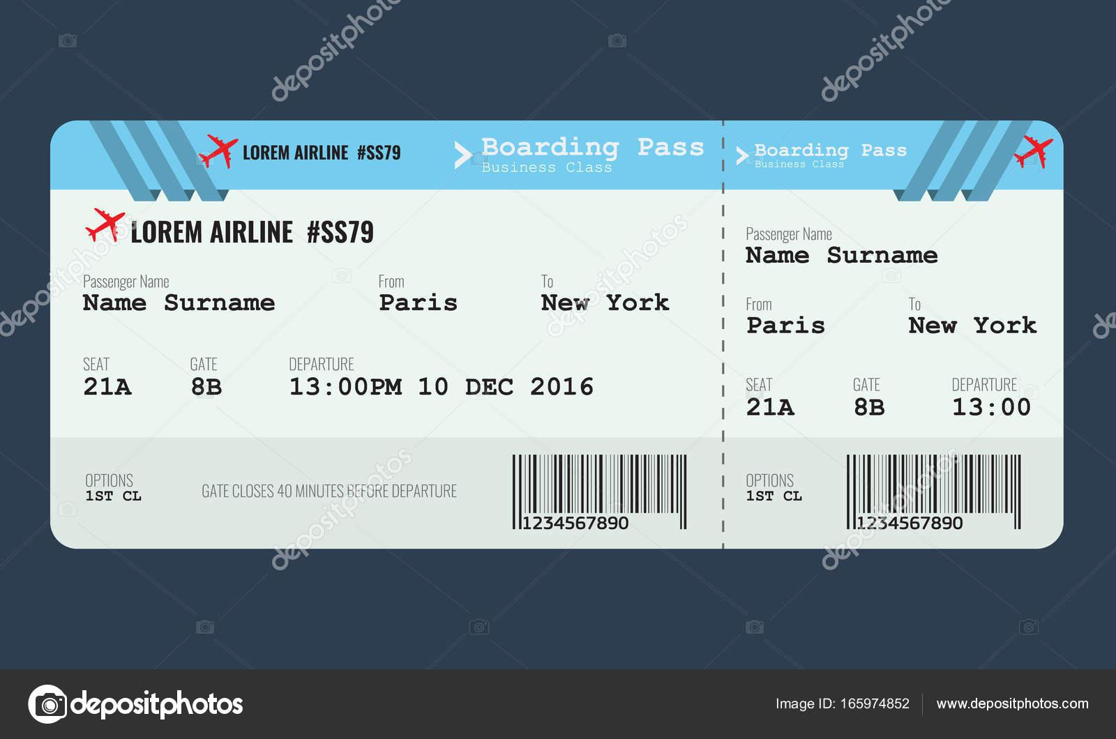 Vektor-Flugzeug-Ticket-Design-Vorlage — Stockvektor © zeynurbabayev ...