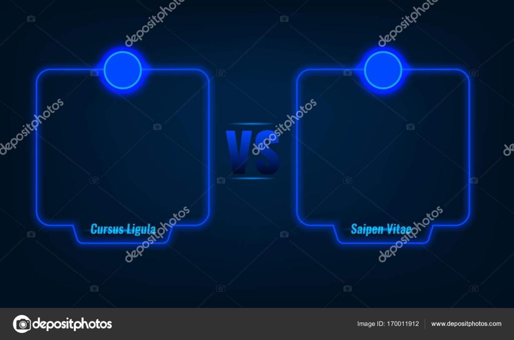 Versus o comparar la pantalla con letras de neón azul Marcos y vs ...