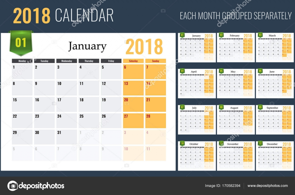 Plantilla de calendario 2018, planificador, 12 páginas. Fácil de ...