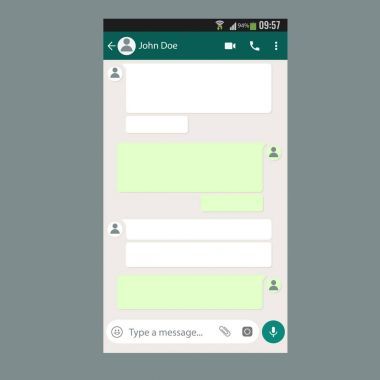 Mobile UI kit Chat app template on smartphone screen.