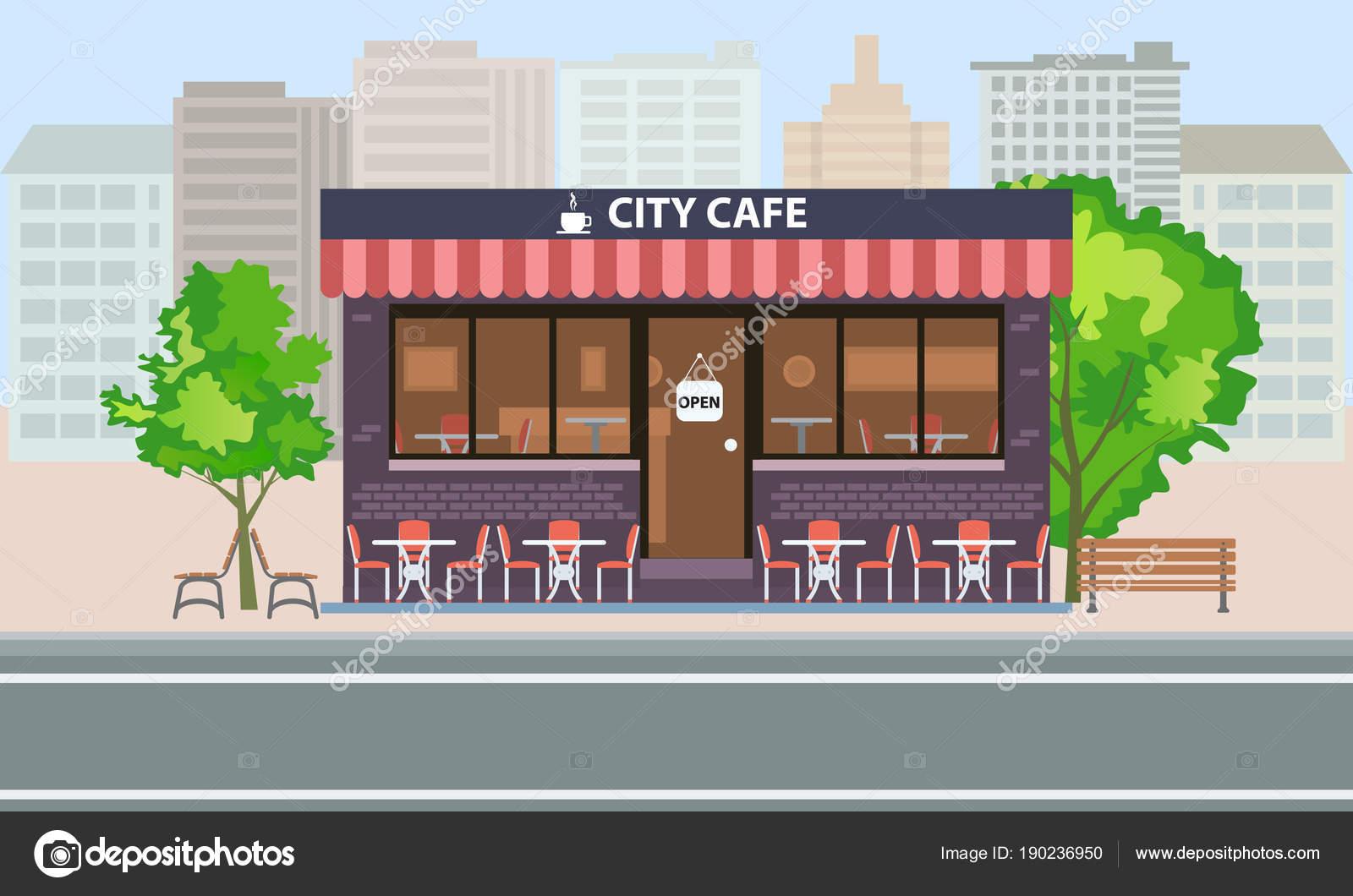 Café Central Edificio Exterior Con Terraza De Verano Mesas