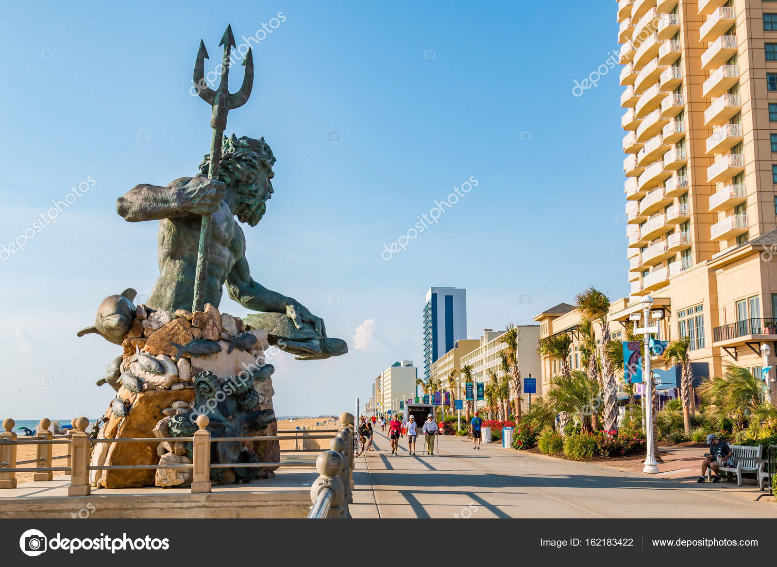King Neptune on Virginia Beach Oceanfront Boardwalk – Stock