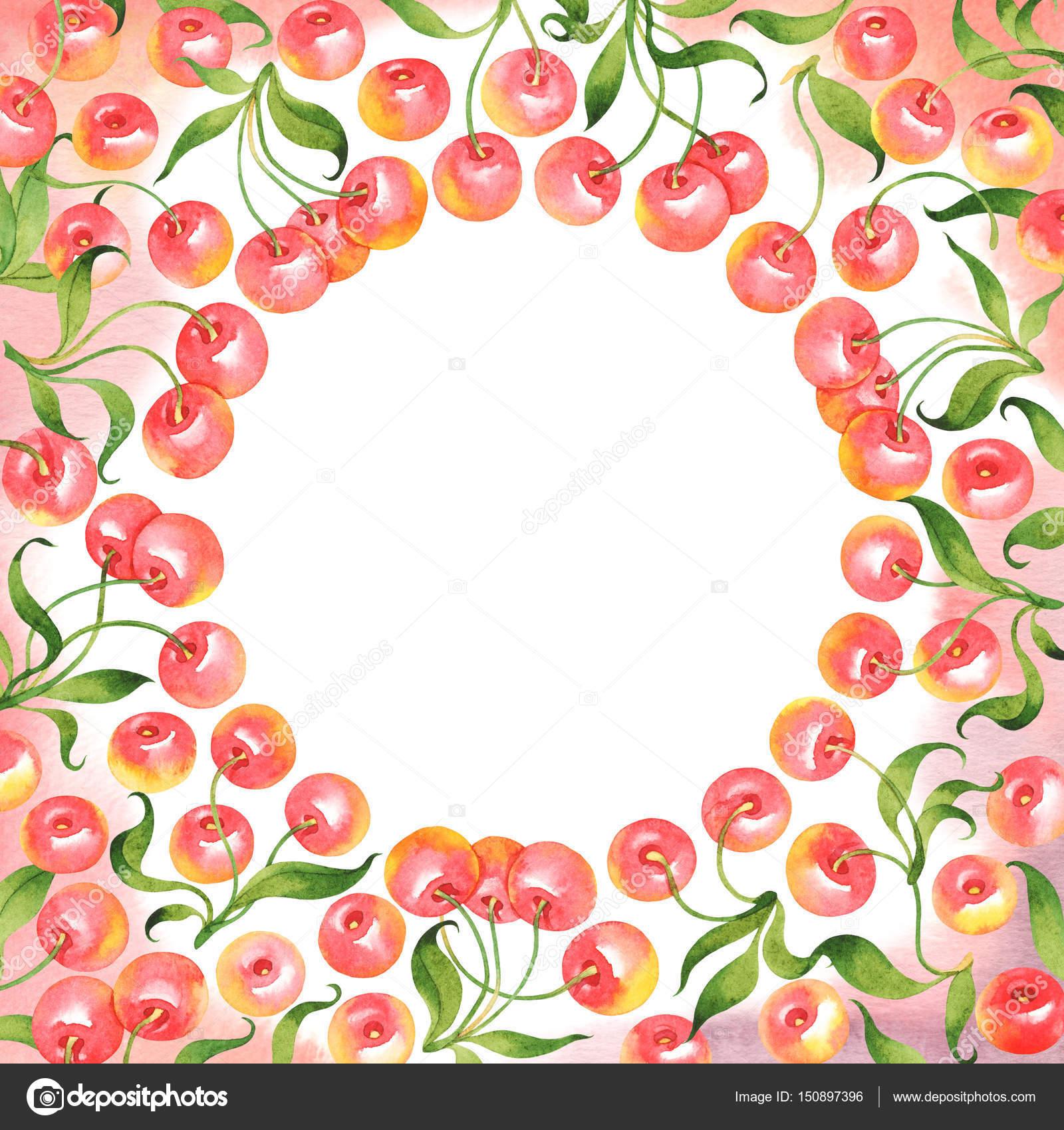 Aquarell-Rahmen mit Kirschen — Stockfoto © achtung #150897396