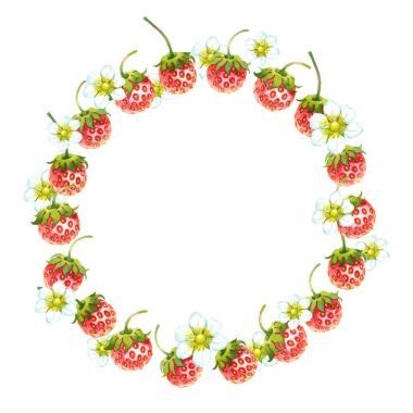 Watercolor wreath with strawberries
