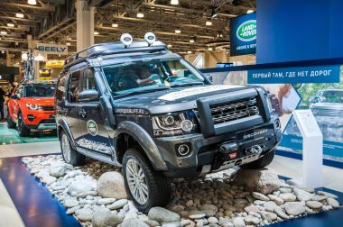 Moscow, Russia - August 27, 2015. Crocus Expo. International exhibition of SUVs, crossovers and off-road vehicles