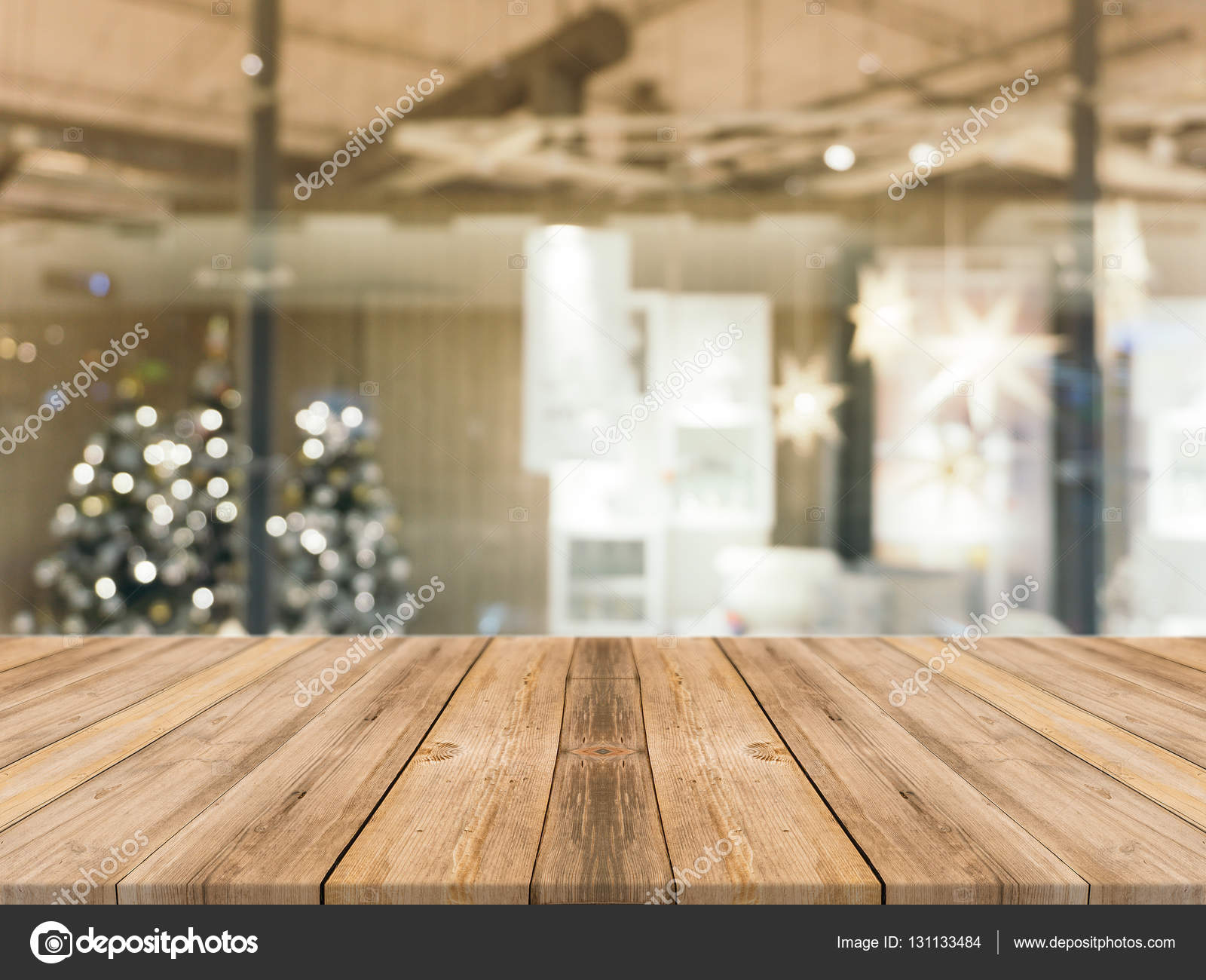 Wooden Board Empty Table Top On Of Blurred Background. Perspective Brown Wood  Table Over Blur Christmas Tree And Fireplace Background, Can Be Used Mock  Up ...