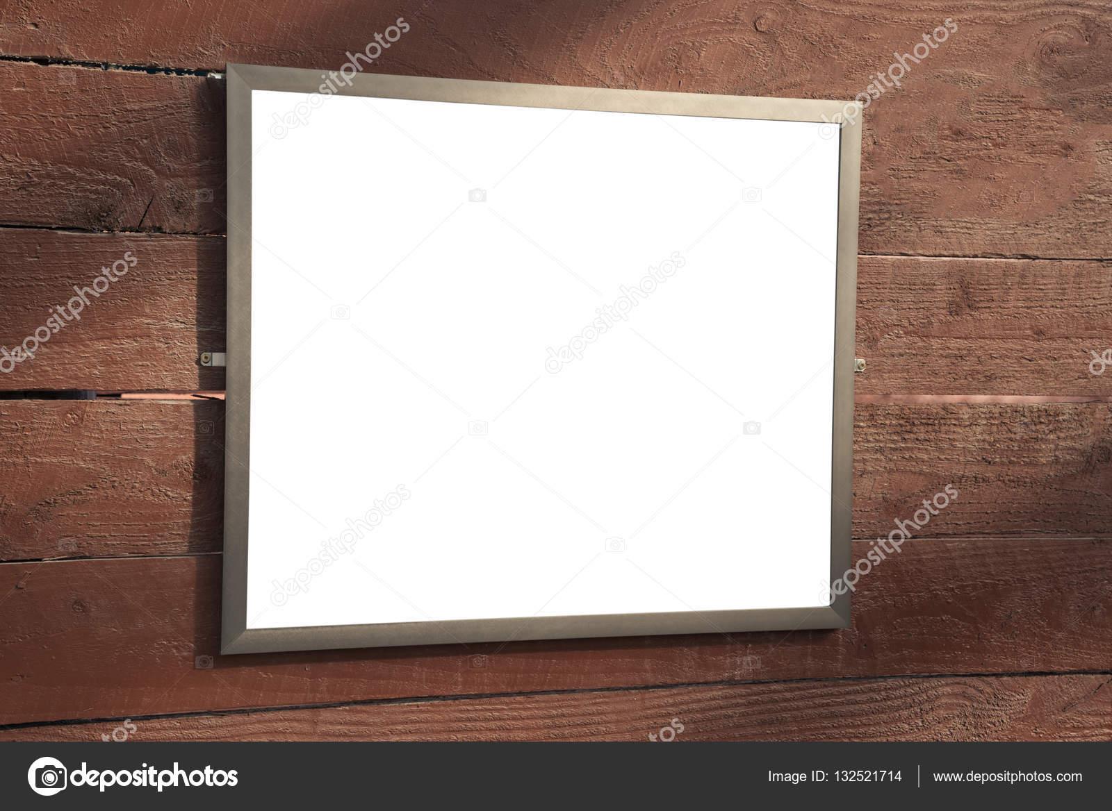 Mock up marco de cartel en blanco en madera de la pared — Foto de ...
