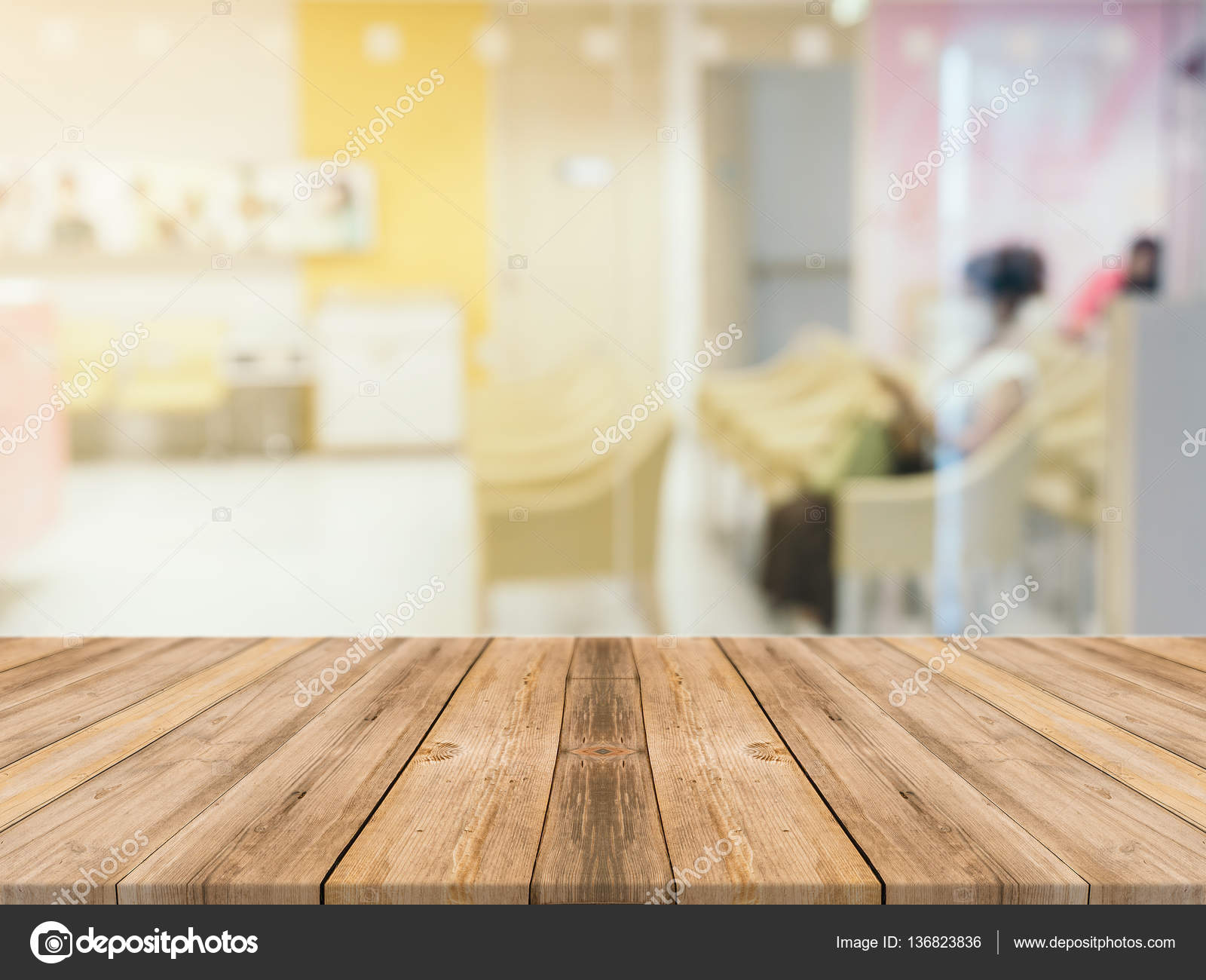 Empty wood table and blurred living room background stock photo - Wooden Board Empty Table In Front Of Blurred Background Perspective Brown Wood Table Over Blur Room In Hospital Background Can Be Used Mock Up For