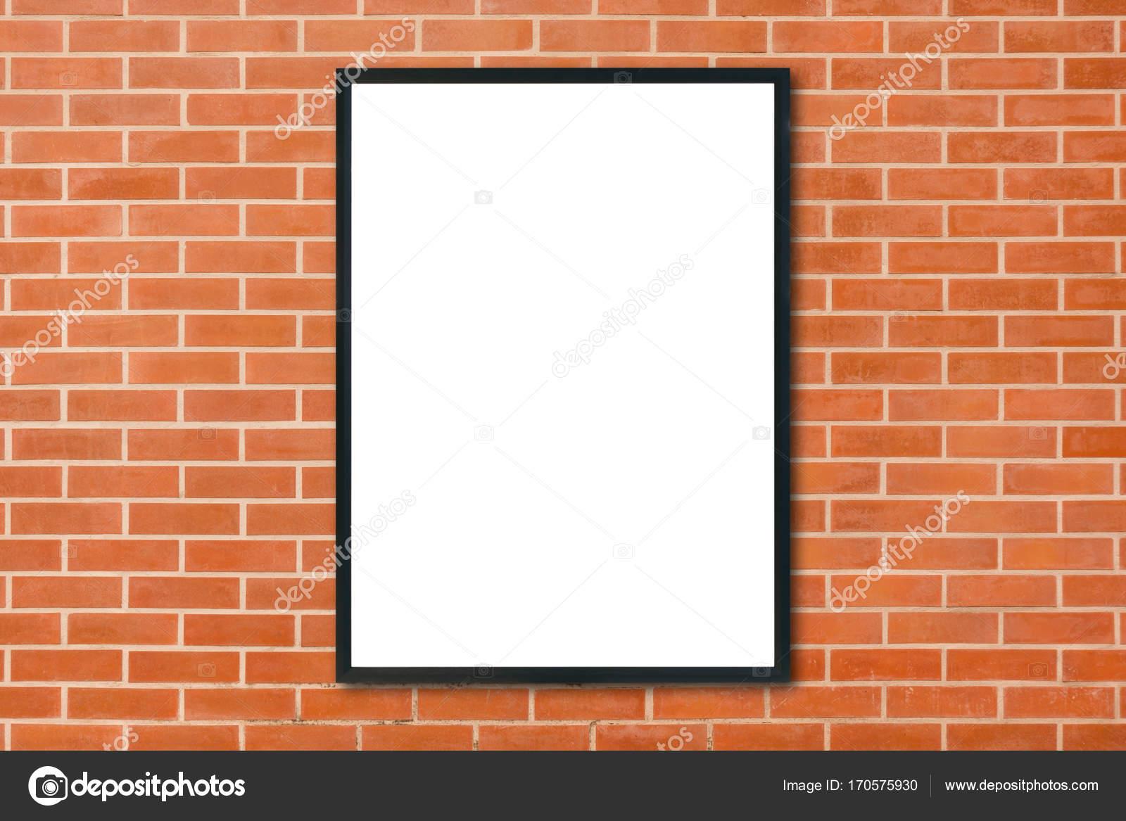 Mock-up leere Plakat Bilderrahmen hängen rote Ziegel Wand ...