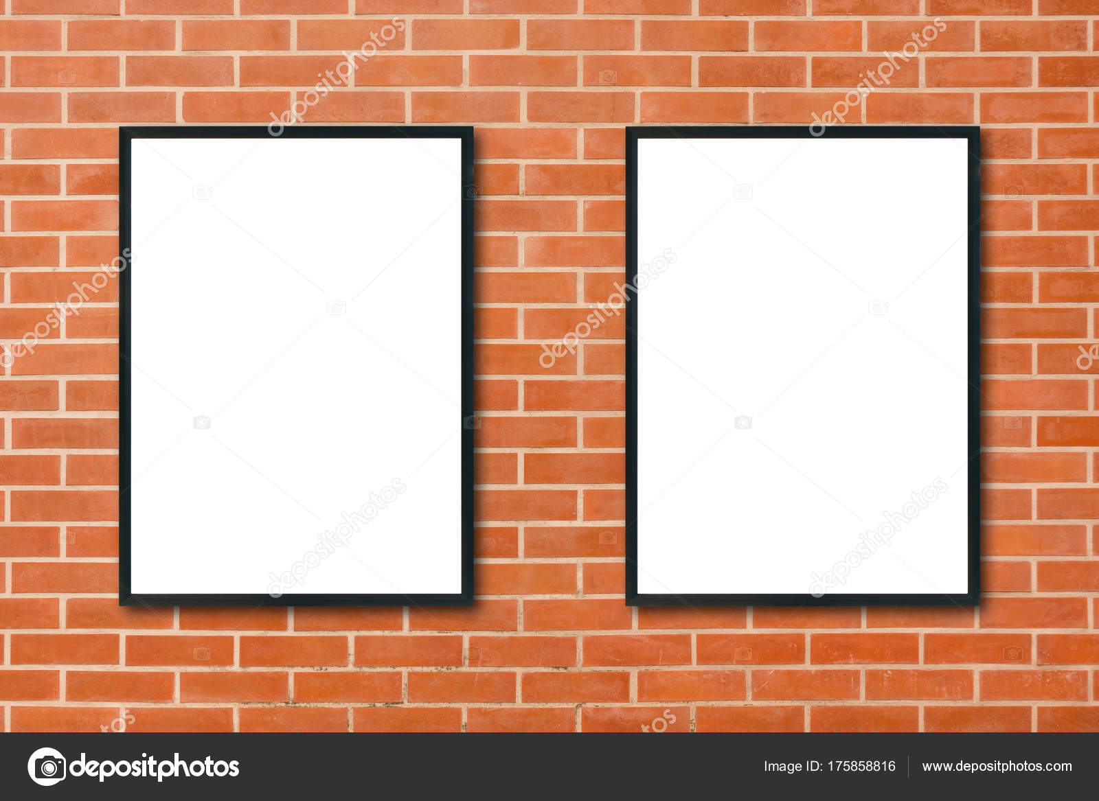 mock up blank poster picture frame hanging on red brick wall